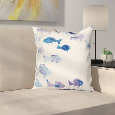 Watercolor Cute Fishes Square Pillow Cover Size: 18 x 18