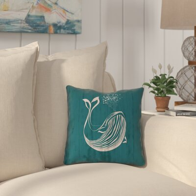 Lauryn Rustic Whale Throw Pillow with Zipper Size: 16 x 16