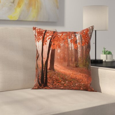 Fall Decor Misty Forest Square Pillow Cover Size: 24 x 24