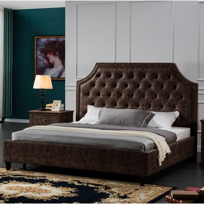 Crichton Upholstered Bed Frame Size: Queen, Color: Brown
