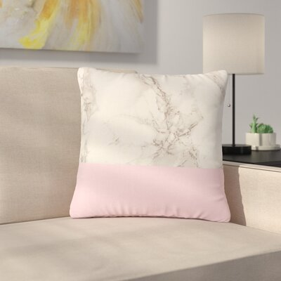 Suzanne Carter Marble and Block Modern Outdoor Throw Pillow Size: 16 H x 16 W x 5 D, Color: Pink