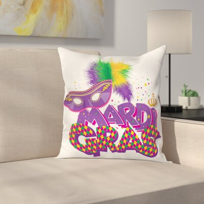 Mardi Gras Traditional Holiday Square Cushion Pillow Cover Size: 16 x 16