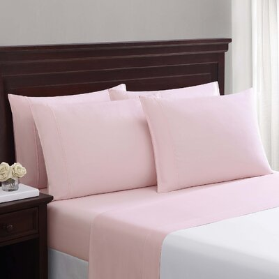 Daigneault 1400 Thread Count Percale 4 Piece Sheet Set Color: Blush Pink, Size: Queen