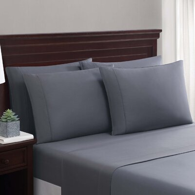 Daigneault 1400 Thread Count Percale 4 Piece Sheet Set Color: Dark Gray, Size: King