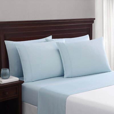 Daigneault 1400 Thread Count Percale 4 Piece Sheet Set Color: Light Blue, Size: Queen