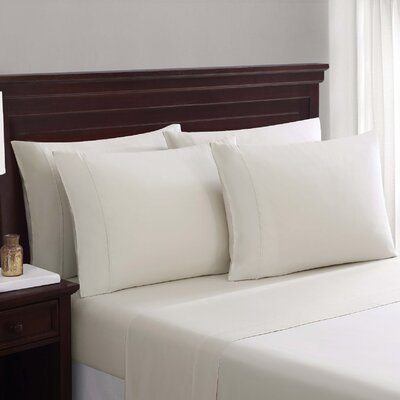 Daigneault 1400 Thread Count Percale 4 Piece Sheet Set Color: Moonbeam Gray, Size: Queen