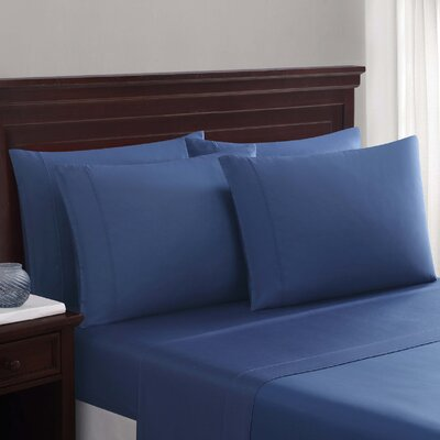 Daigneault 1400 Thread Count Percale 4 Piece Sheet Set Color: Slate Blue, Size: Queen