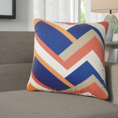 Bryn Geometric Cotton Throw Pillow Color: Melon