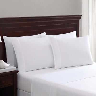 Daigneault 1400 Thread Count Percale 4 Piece Sheet Set Color: White, Size: Queen