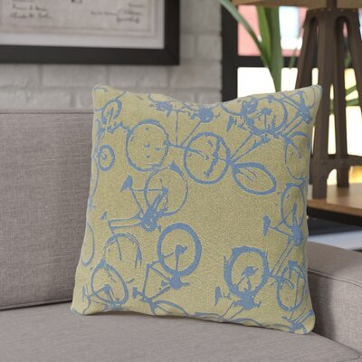 Ellen Bicycle Print Throw Pillow Size: 18 H x 18 W x 4 D, Color: Blue / Lime, Filler: Down