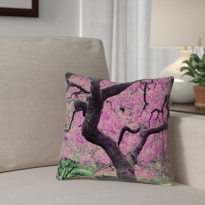 Ghost Train Japanese Maple Tree Printed Square Throw Pillow Color: Pink, Size: 14 x 14