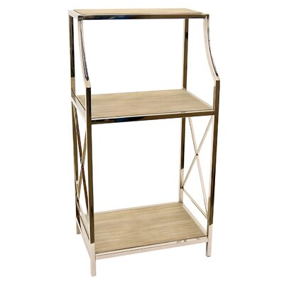 Ketner Metal and Wood Etagere Bookcase 53780DA034BA4EE1A27E9BB8054C1061