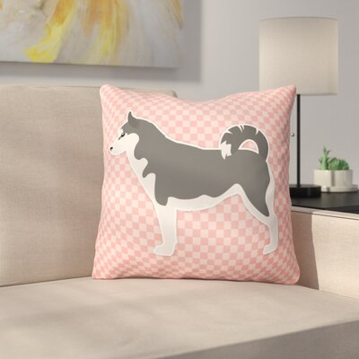 Siberian Husky Indoor/Outdoor Throw Pillow Size: 18 H x 18 W x 3 D, Color: Pink