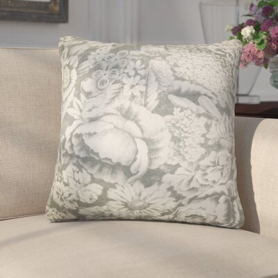 Amedeo Floral Linen Throw Pillow Color: Gray