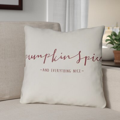 Pumpkin Spice Indoor/Outdoor Throw Pillow Size: 20 H x 20 W x 4 D, Color: White/Red