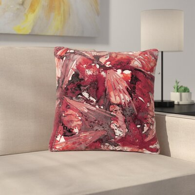 Ebi Emporium Birds Outdoor Throw Pillow Size: 16 H x 16 W x 5 D, Color: Red/Black