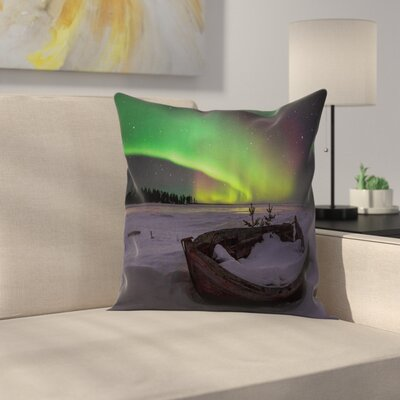 Northern Light Wood Boat Galaxy Cushion Pillow Cover Size: 18 x 18