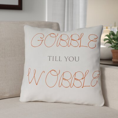Gobble Wobble Indoor/Outdoor Throw Pillow Size: 20 H x 20 W x 4 D, Color: White/Orange