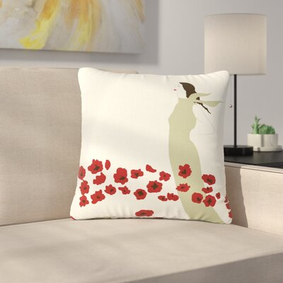 Mayacoa Studio Poppy Field Outdoor Throw Pillow Size: 18 H x 18 W x 5 D