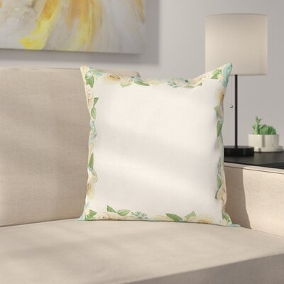 Flower Roses Leaves Cushion Pillow Cover Size: 24 x 24