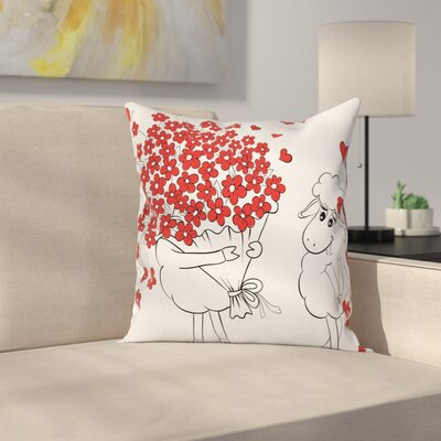 Lover Goats Hearts Square Pillow Cover Size: 16 x 16