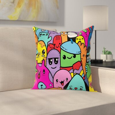 Doodle Monsters Square Cushion Pillow Cover Size: 24 x 24