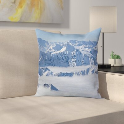 Winter Clouds on Summit Fog Square Pillow Cover Size: 18 x 18