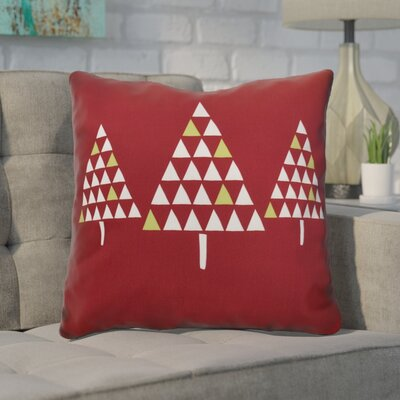 Christmas Trees Throw Pillow Size: 16 H x 16 W, Color: Cranberry
