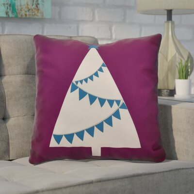 Christmas Garland Tree Throw Pillow Size: 18 H x 18 W, Color: Purple