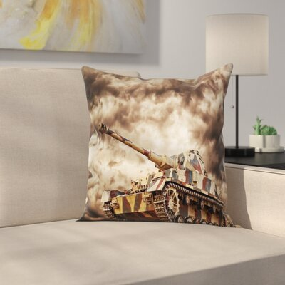 Fabric Case Tank Battle War Cloudy Square Pillow Cover Size: 16 x 16