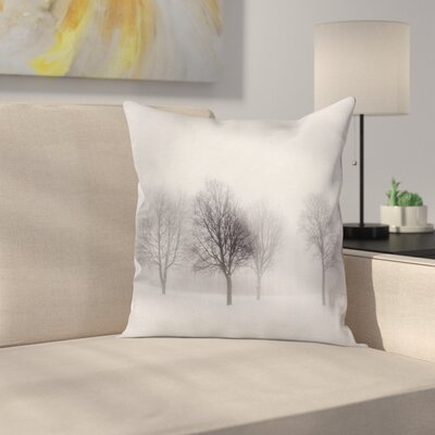 Foggy Weather Trees Square Pillow Cover Size: 24 x 24