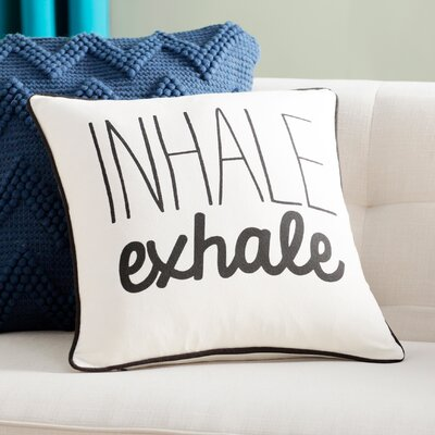 Carnell Inhale/ Exhale Cotton Throw Pillow Cover Color: White/ Black