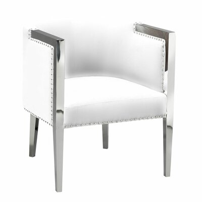 Britley Contemporary Back Barrel Chair Upholstery: White