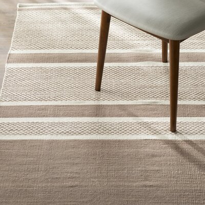 Duhart Brown/Ivory Striped Rug Rug Size: 4 x 6