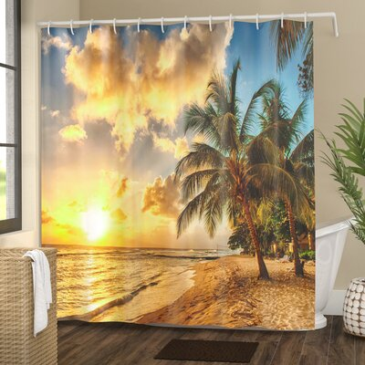 Tropical Exotic Sandy Beach Shower Curtain Size: 69 W x 84 L