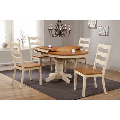 Chretien Transitional Round Ladder Back 5-Piece Extendable Dining Set