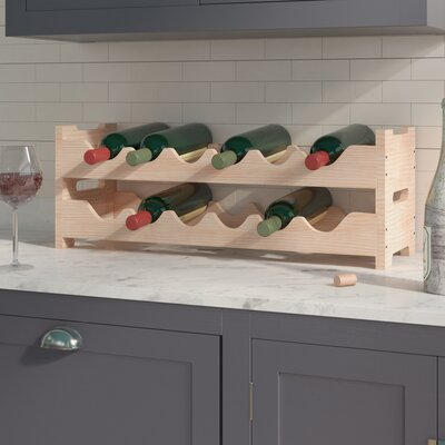 Karnes Pine Mini Scalloped 12 Bottle Tabletop Wine Rack Finish: Natural