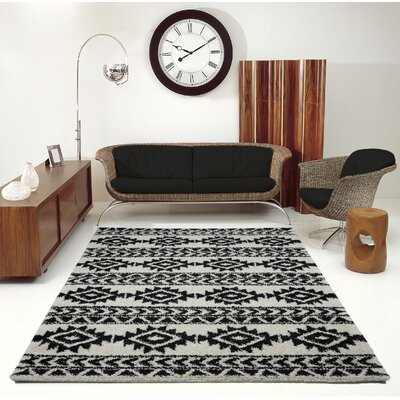 Hiebert Black/Ivory Area Rug Rug Size: Rectangle 53 x 75