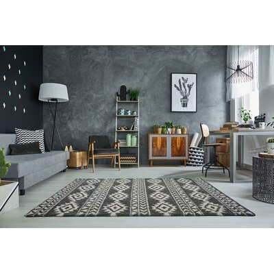 Hiebert Gray/Ivory Area Rug Rug Size: Rectangle 53 x 75