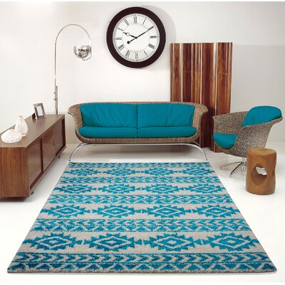 Hiebert Ivory/Turquoise Area Rug Rug Size: Rectangle 53 x 75