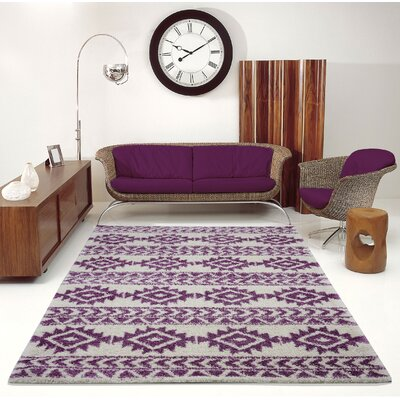 Hiebert Purple/Ivory Area Rug Rug Size: Rectangle 65 x 95