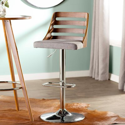 Caesar Adjustable Height Swivel Bar Stool Upholstery: Light Gray