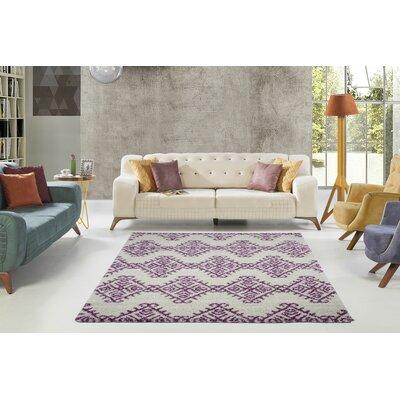 Mckinnie Shaggy Ivory/Purple Area Rug Rug Size: Rectangle 53 x 75