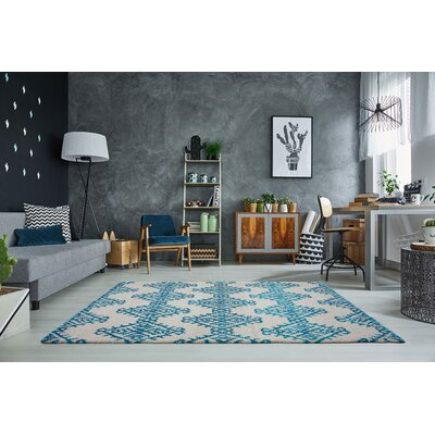 Mckinnie Shaggy Turquoise/Ivory Area Rug Rug Size: Rectangle 65 x 95