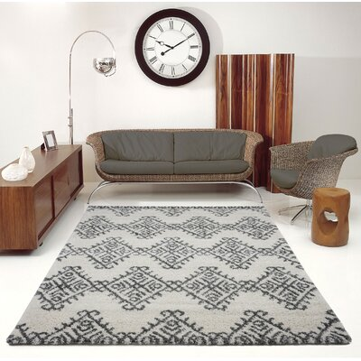 Mckinnie Shaggy Ivory/Gray Area Rug Rug Size: Rectangle 53 x 75