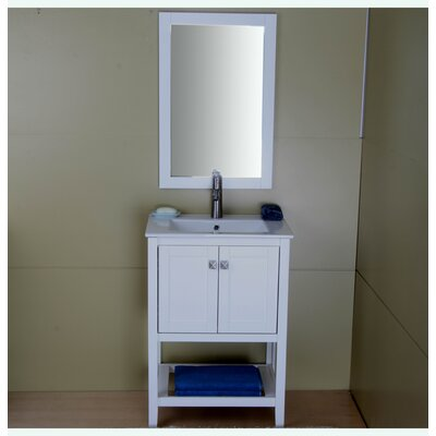 Aubry 24 Single Bathroom Vanity Set Base Finish: Cream White