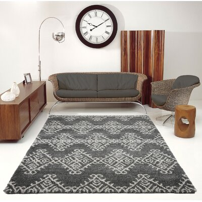 Mckinnie Shaggy Gray/Ivory Area Rug Rug Size: Rectangle 53 x 75