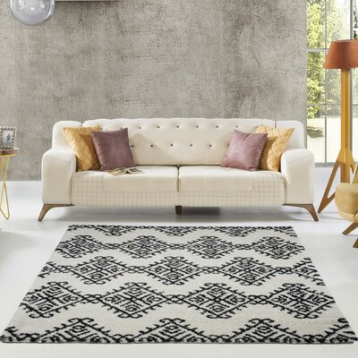 Mckinnie Shaggy Ivory/Dark Gray Area Rug Rug Size: Rectangle 53 x 75