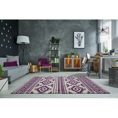 Lindgren Ivory/Purple Trellis Area Rug Rug Size: Rectangle 65 x 95