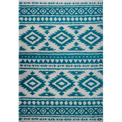 Lindgren Turquoise/Ivory Trellis Area Rug Rug Size: Rectangle 53 x 75